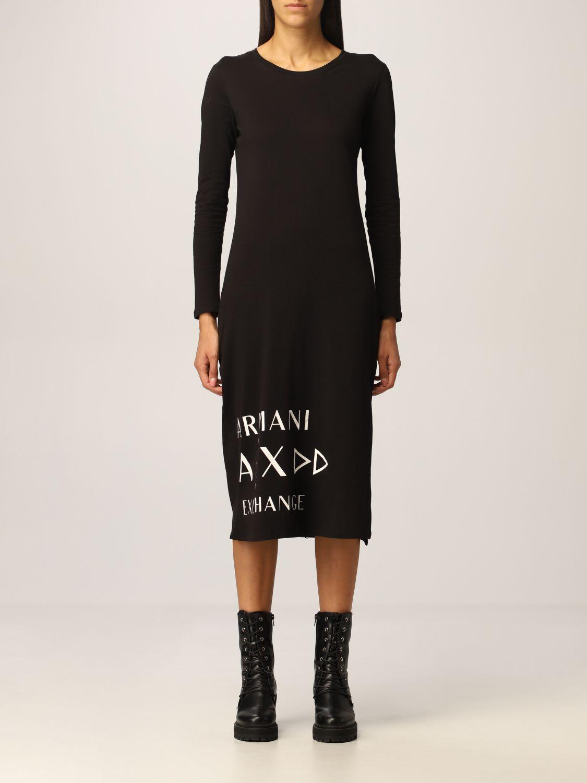 Armani Exchange Dress Long Cotton Maxi Logo T-shirt
