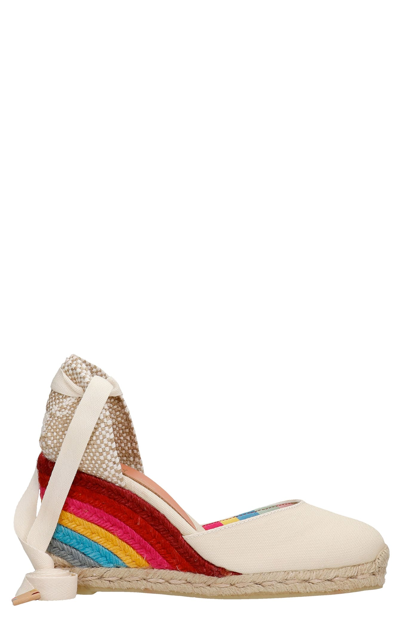 Carina Ps 8-001 Wedges In Beige Canvas