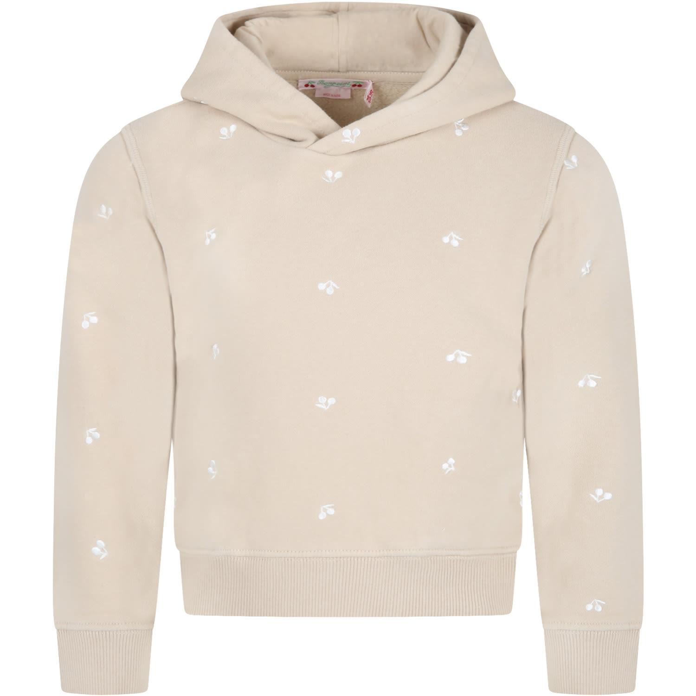 Beige Sweatshirt For Girl With Cherries