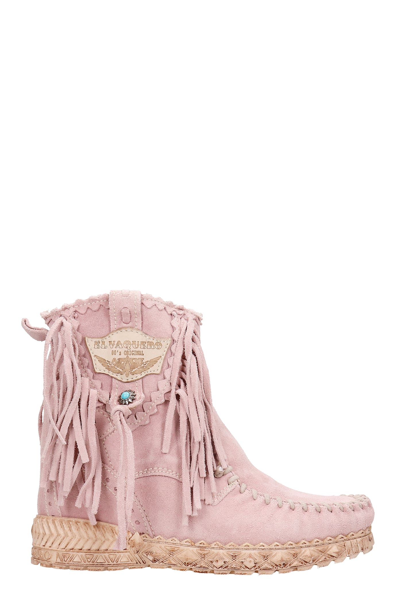 Cloe Ankel Boots Inside Wedge In Rose-pink Suede