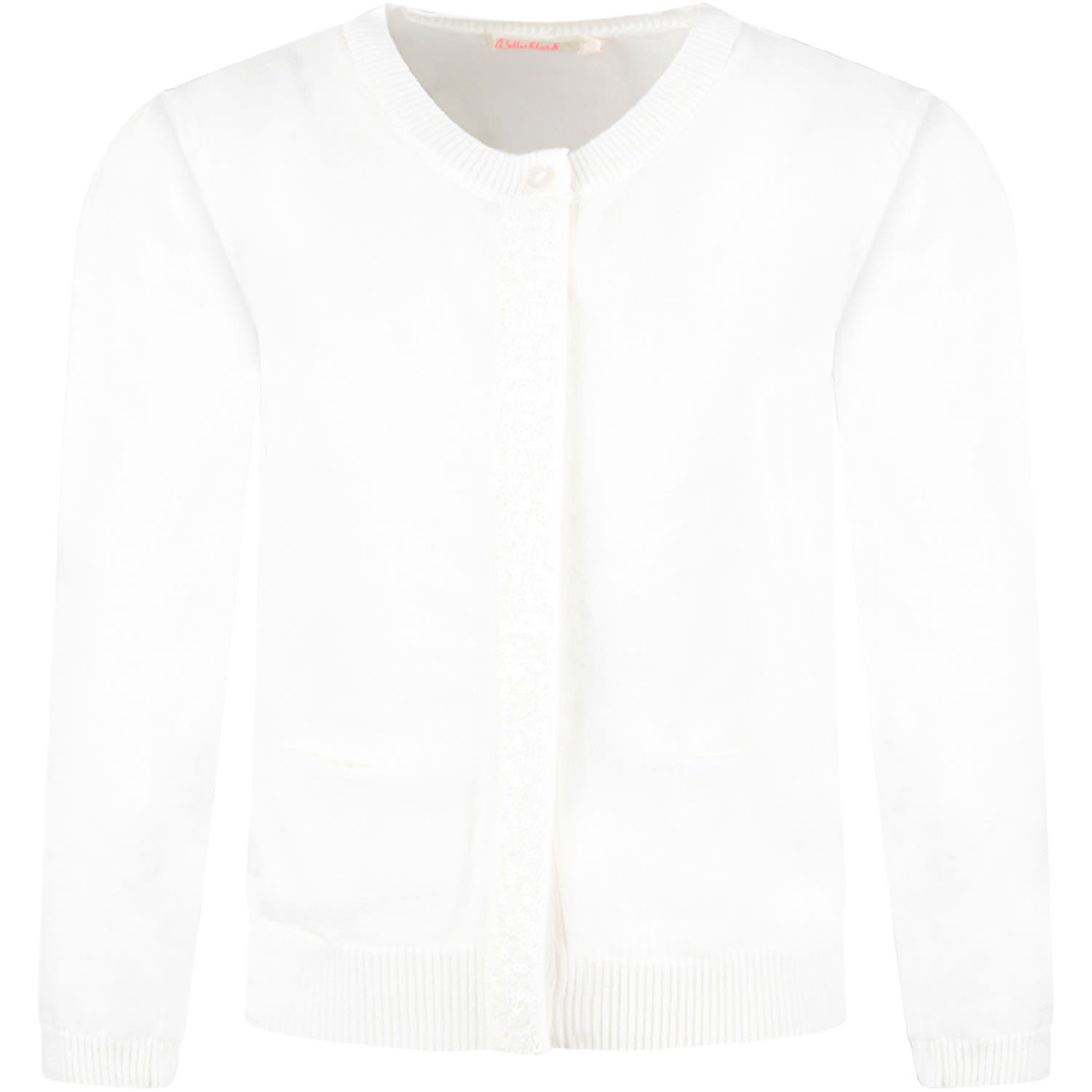 White Cardigan With Sequined Detail For Girl