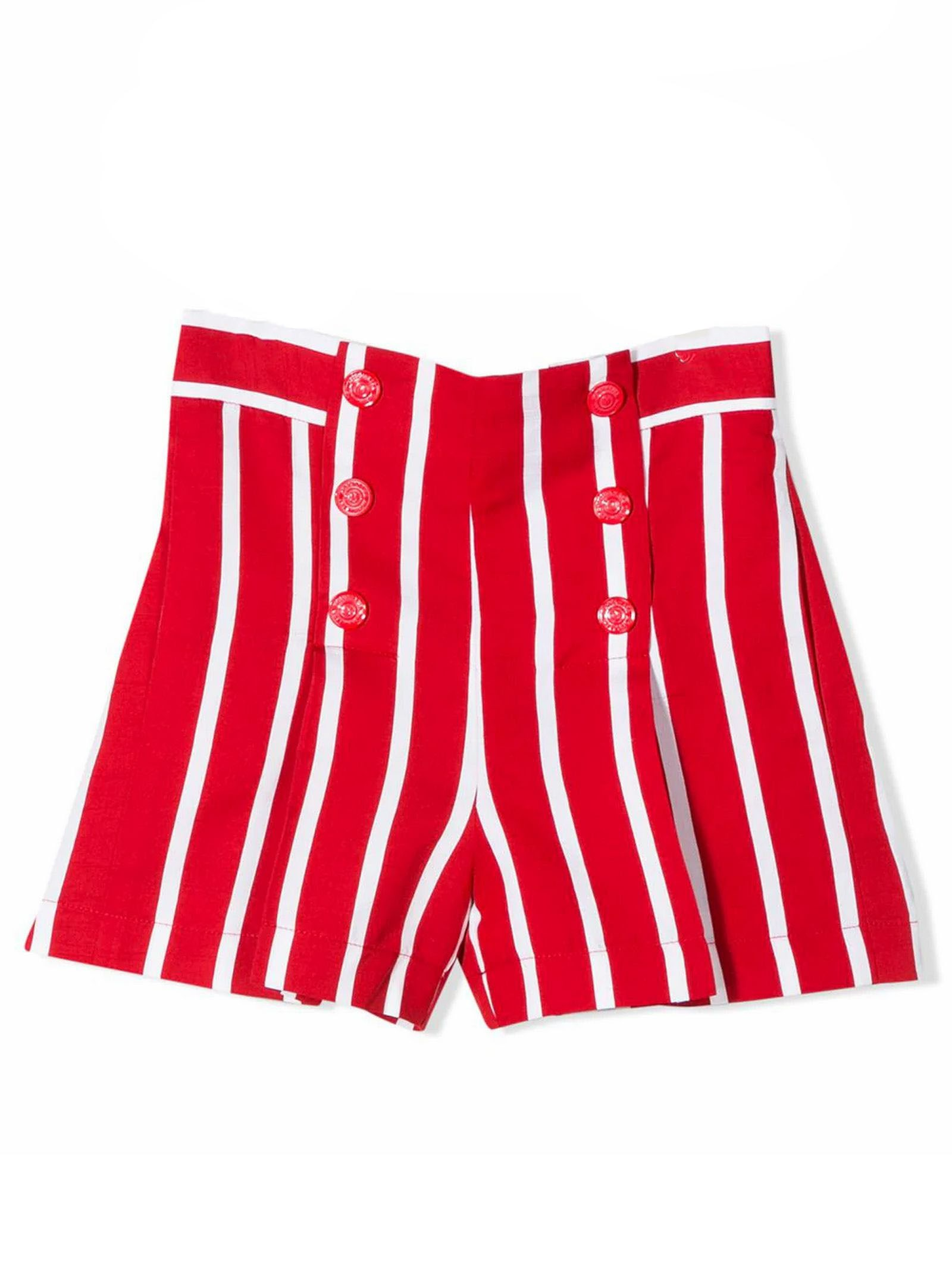 Red And White Cotton Shorts