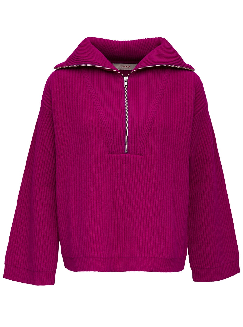 Pink Wool Sweater With Wide Neckline And Zip