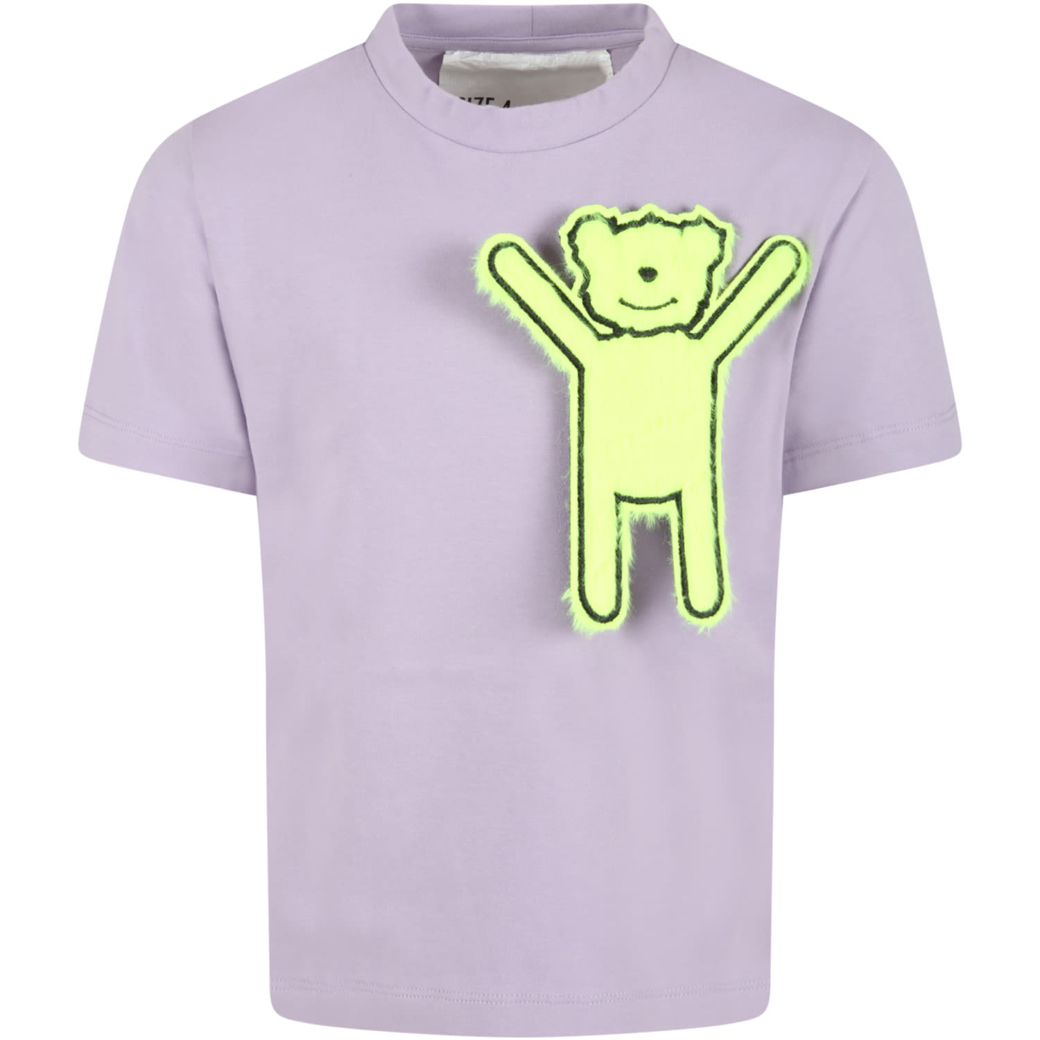 Lilac T-shirt For Kids With Neon Yellow Patch