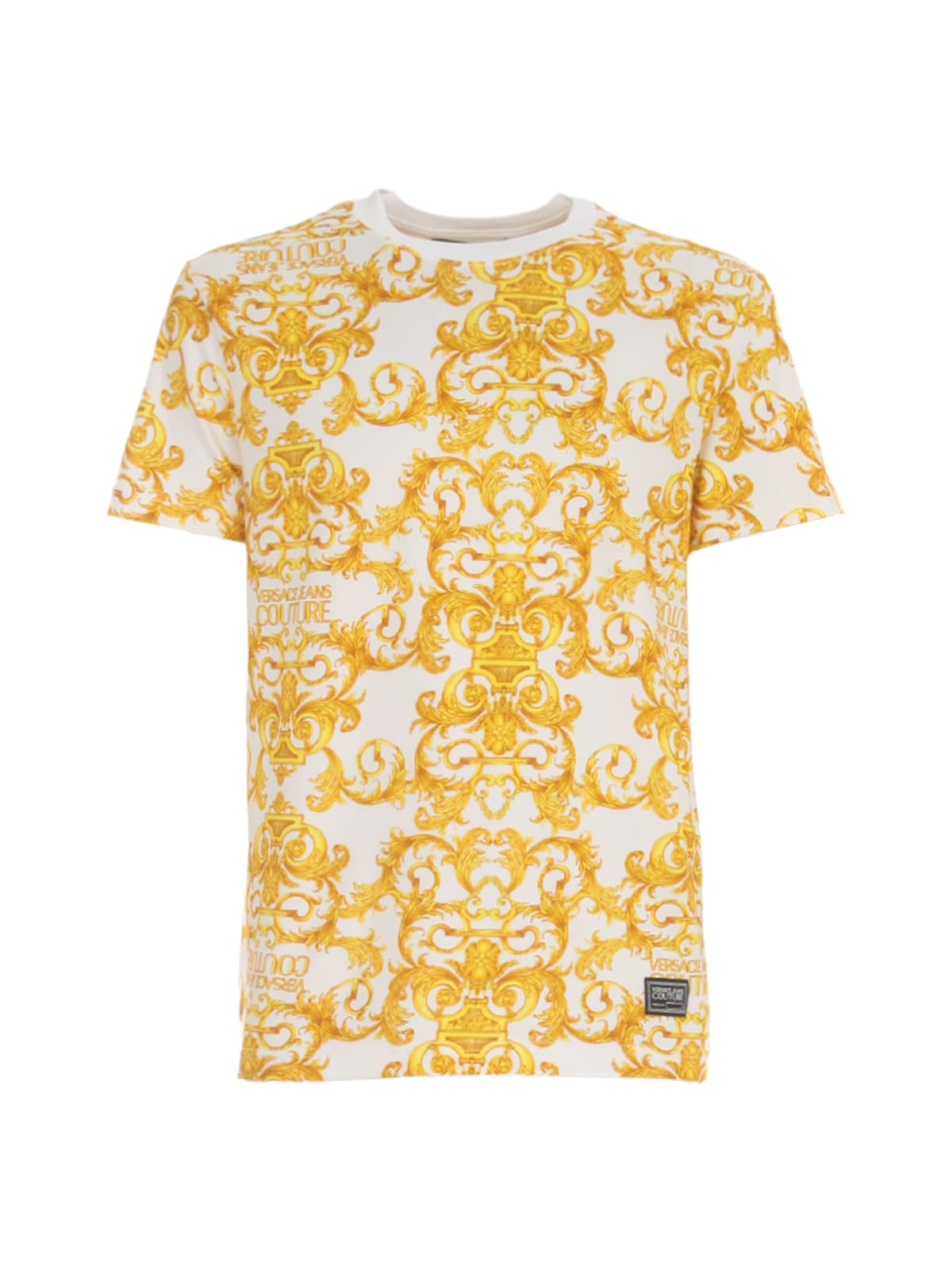 Versace Jeans Couture Slim Logo Baroque Jersey Stretch T-shirt In Bianco Ottico