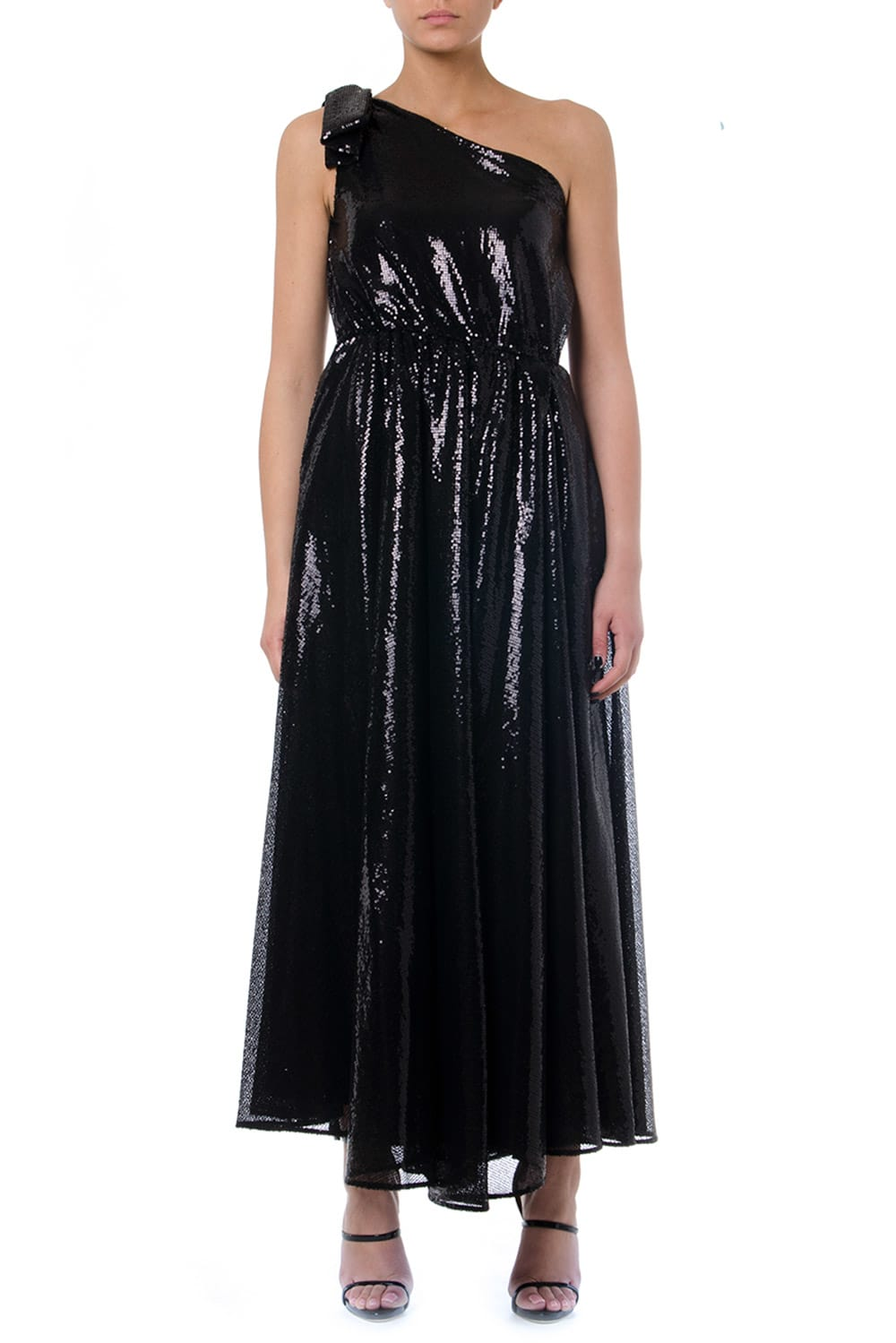 MSGM Black One Shoulder Long Dress