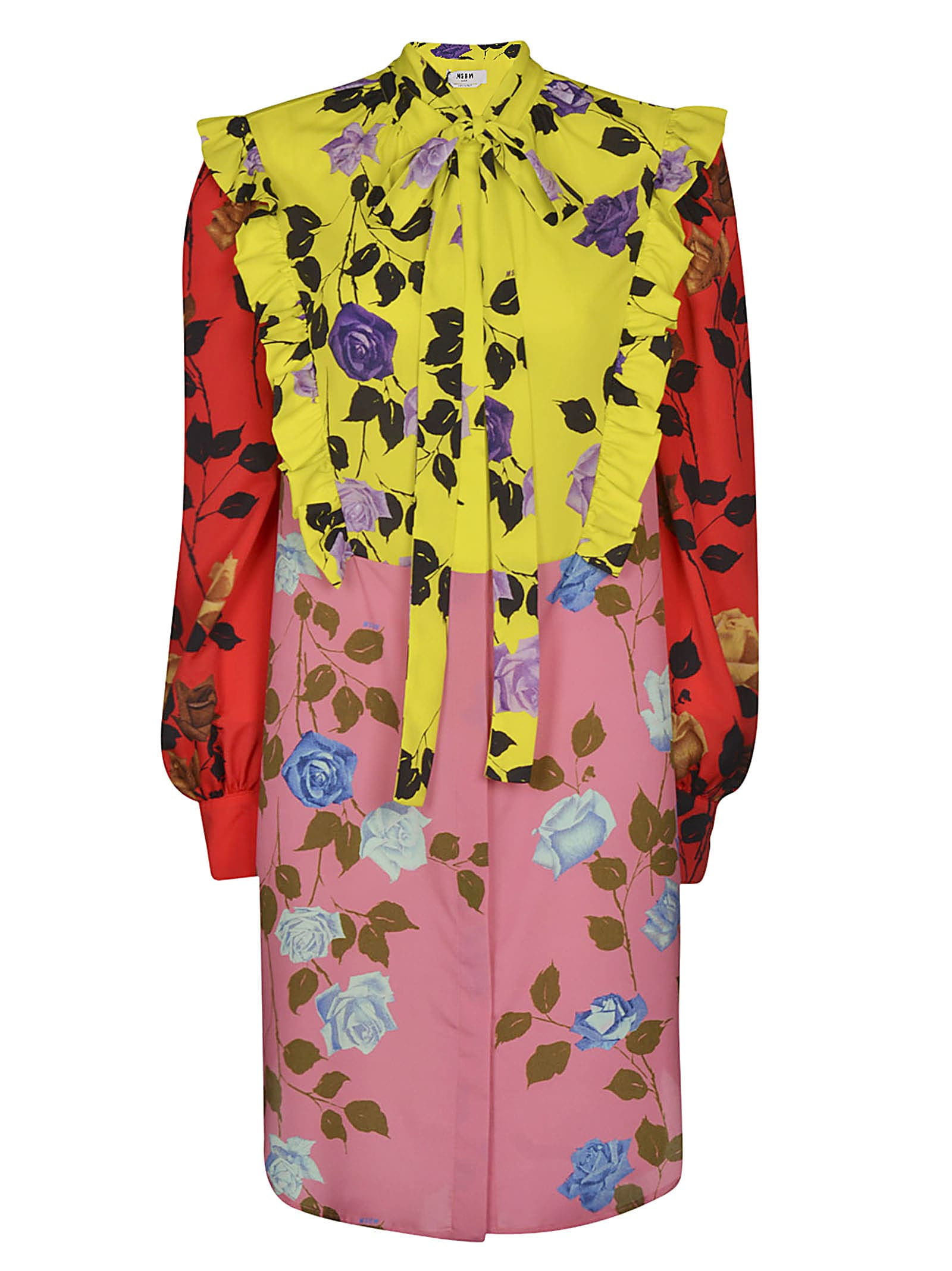 Buy MSGM Floral Print Tie-neck Dress online, shop MSGM with free shipping