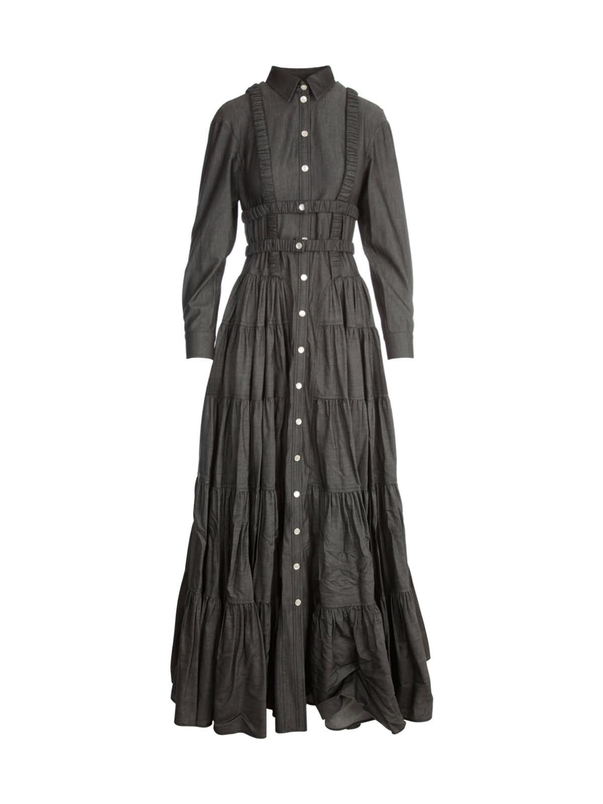 L/s Godet Shirt Long Dress W/elastic
