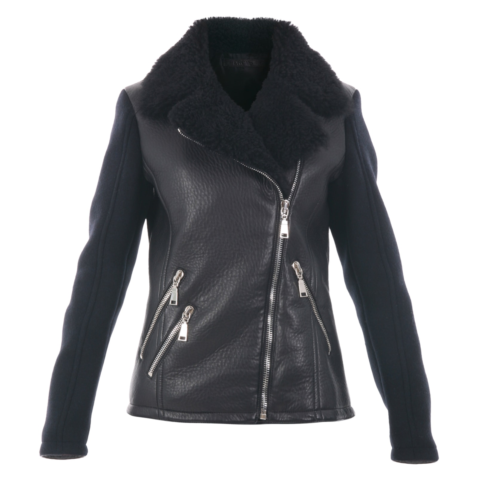 Photo of  Leather And Wool Blend Jacket- shop DROMe jackets online sales