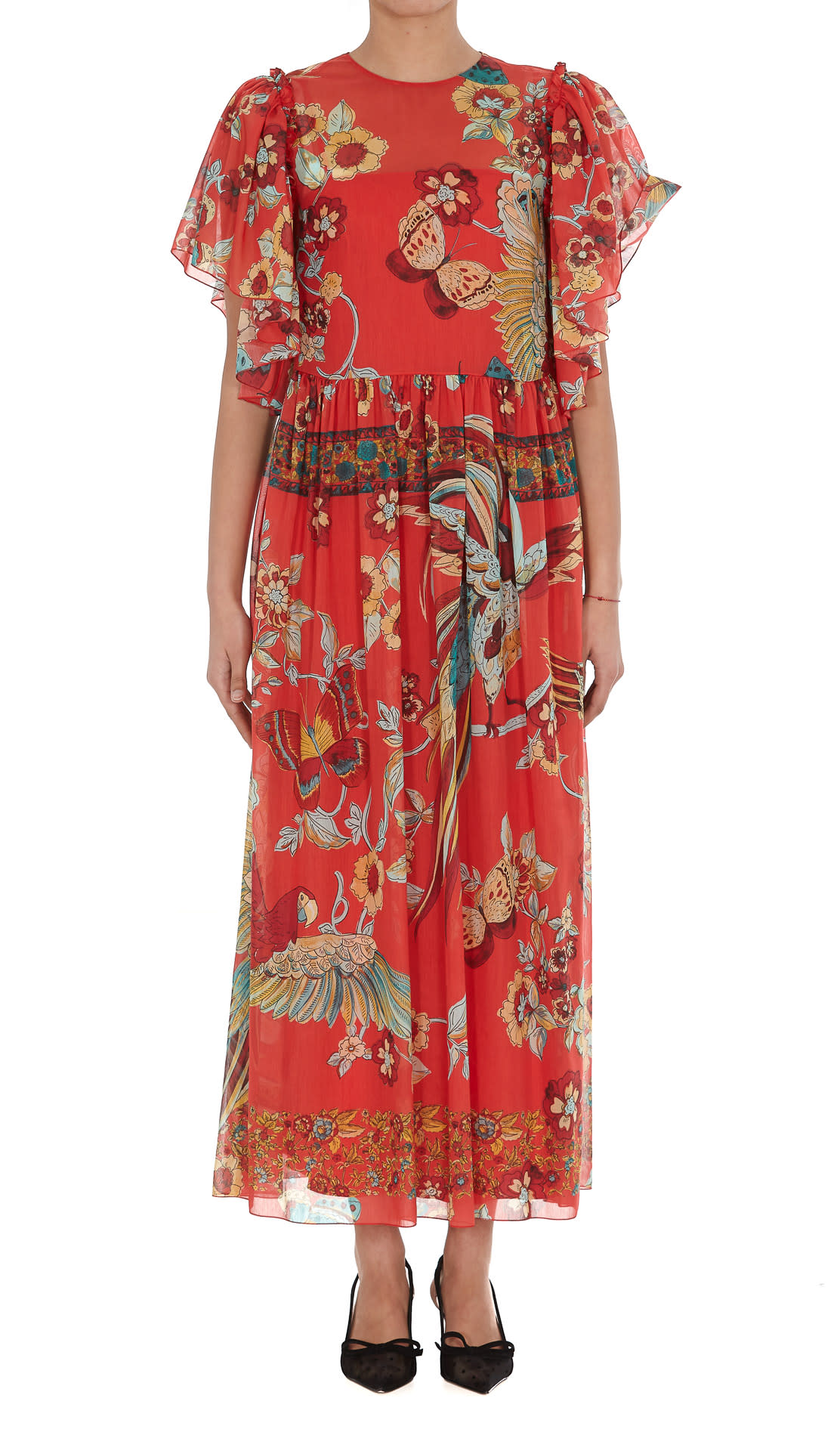 RED Valentino Red Valentino Bird Of Paradise In The Forest Print Dress