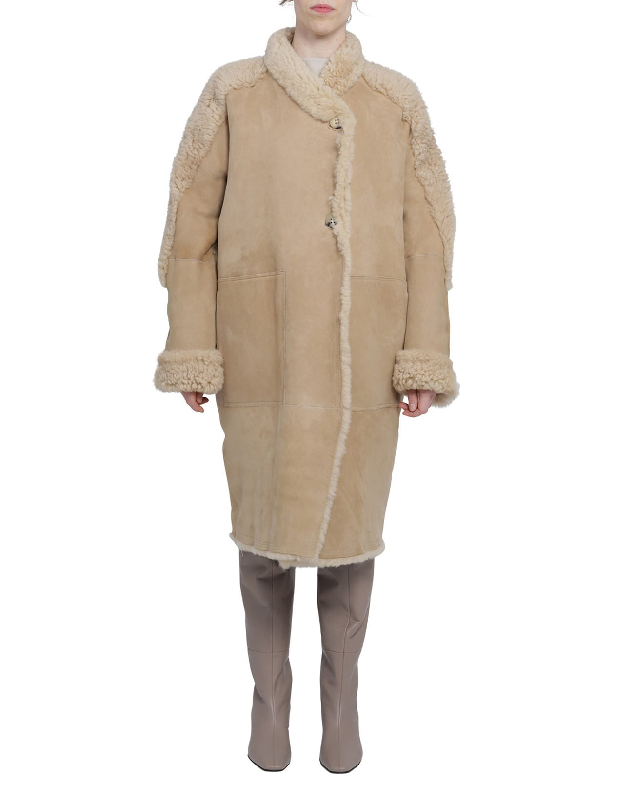 Portofino Beige Shearling Coat