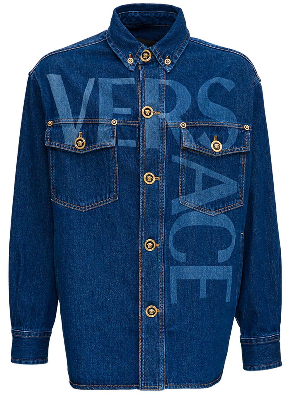 Versace Denim Shirt With Logo Print