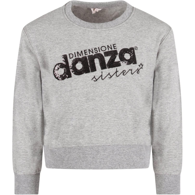 Grey Sweatshirt For Girl With Sequined Logo