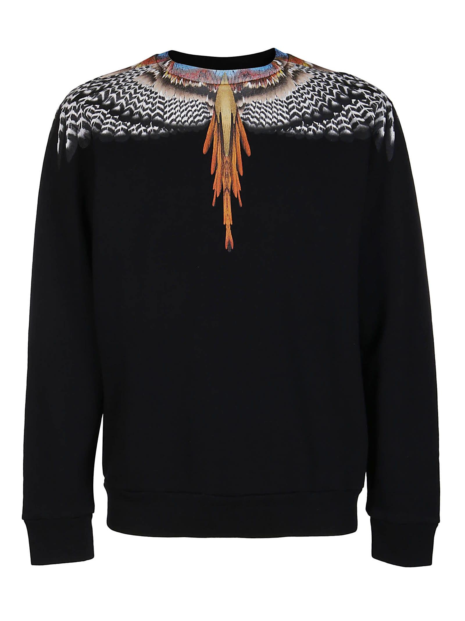 Marcelo Burlon County Of Milan Cottons BLACK COTTON WINGS SWEATSHIRT