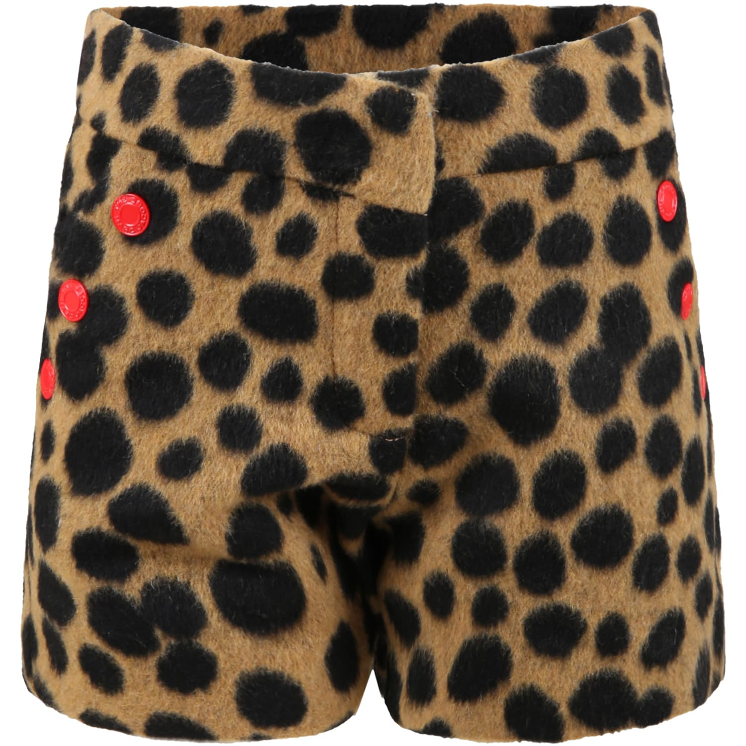 Brown Shorts For Girl With Animalier Details