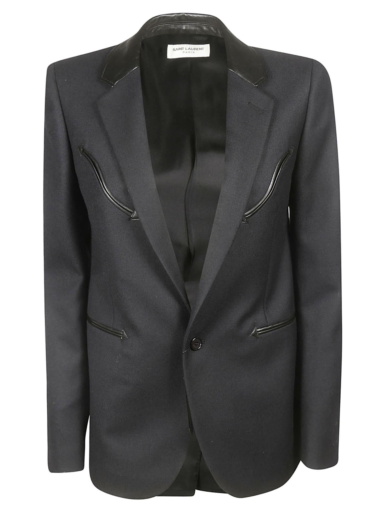 Saint Laurent Leather Detail Blazer