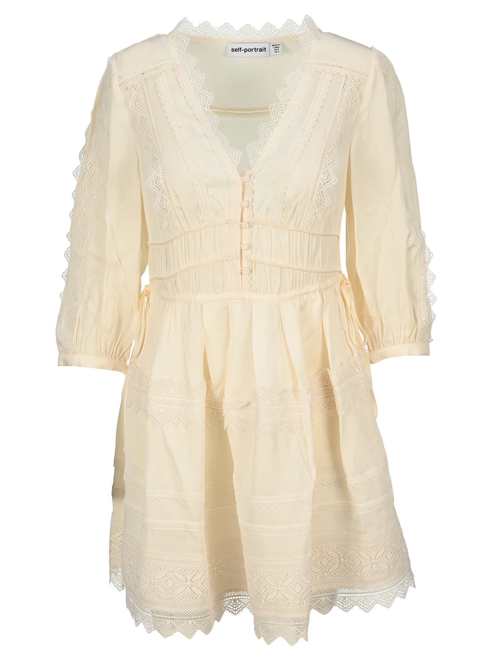 Buy Self Portrait Ivory Lace Trimmed Mini Dress online, shop self-portrait with free shipping