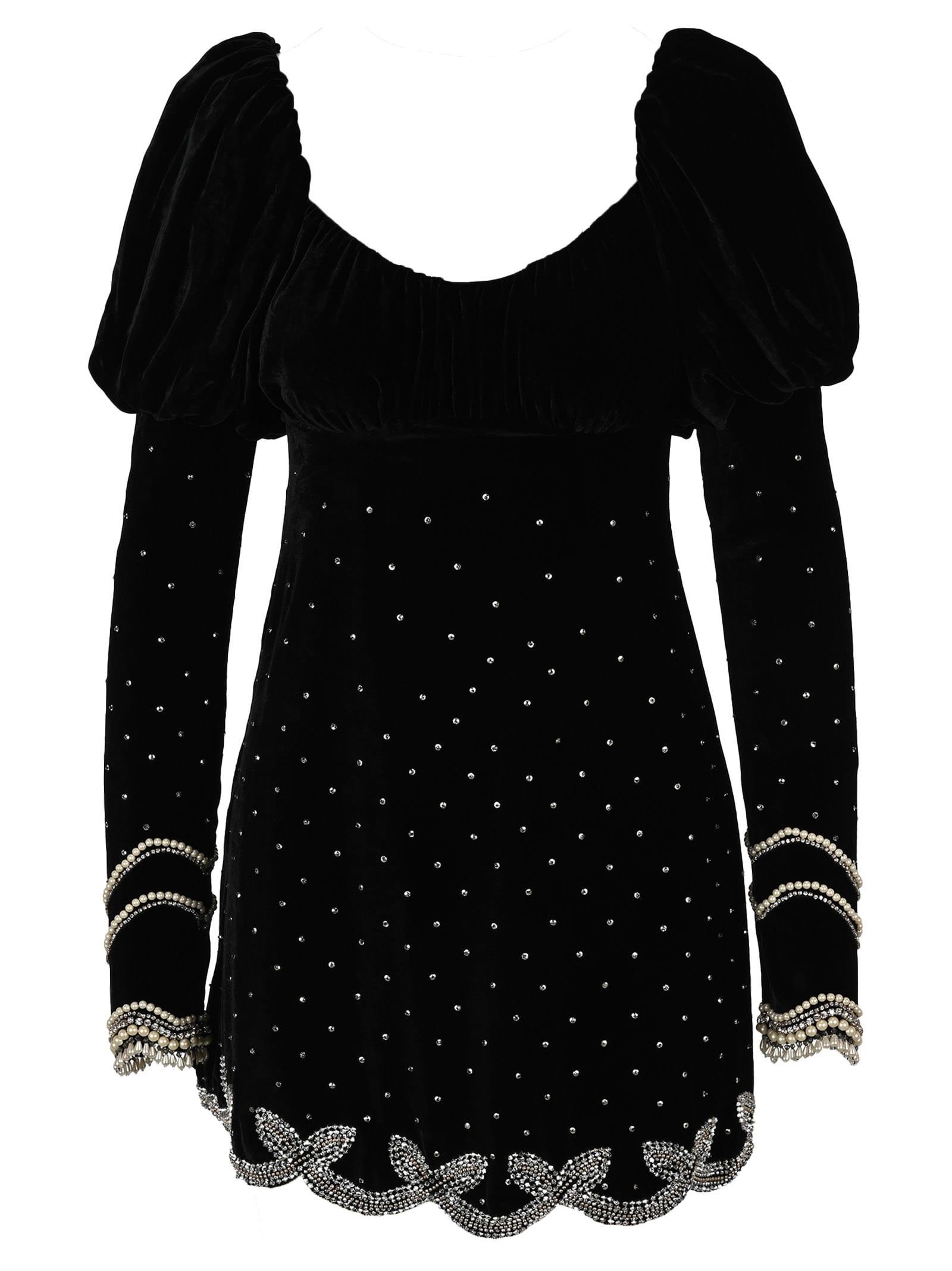 Wandering Embroidered Velvet Mini Dress