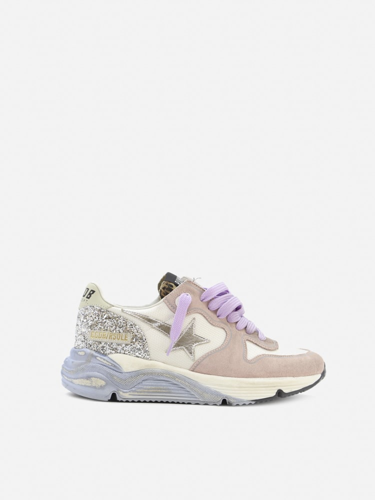 Golden Goose Running Sole Sneakers In Suede And Nylon