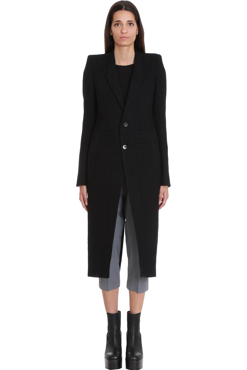 Rick Owens Neue Coat Coat In Black Wool