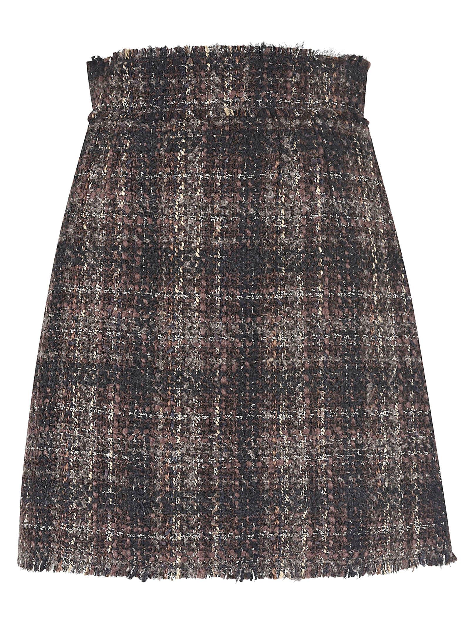 Dolce & Gabbana Checked Woven Skirt