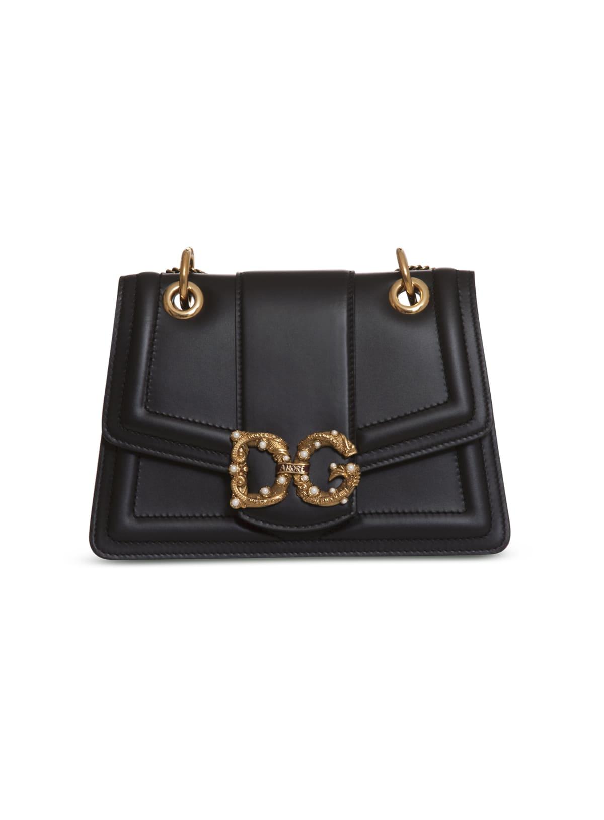 Dolce & Gabbana Dg Embellished Leather Shoulder Bag