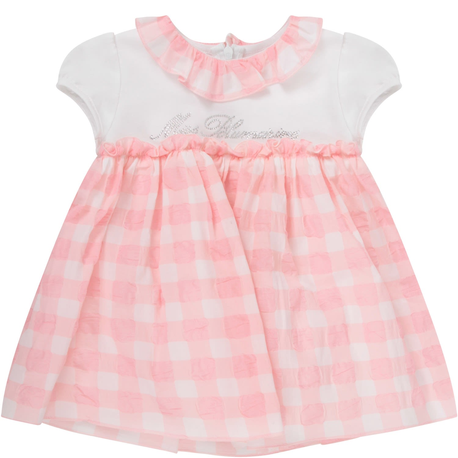 Buy Blumarine White And Pink Babygirl Dress With Logo online, shop Blumarine with free shipping