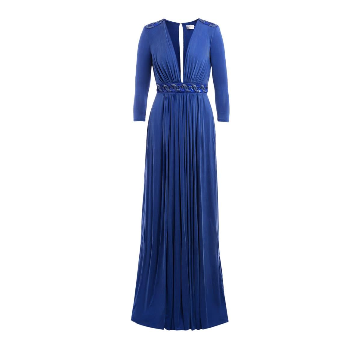 Buy Maxi Dress Elisabetta Franchi Cobalt Blue Color online, shop Elisabetta Franchi Celyn B. with free shipping