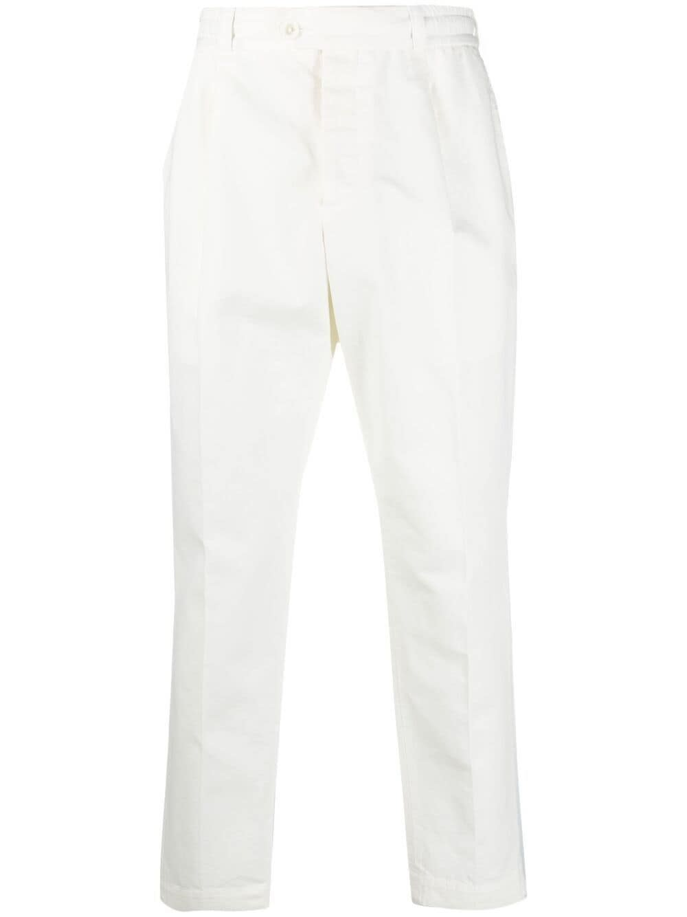 Pt01 Clothing WHITE COTTON AND LINEN PANTS