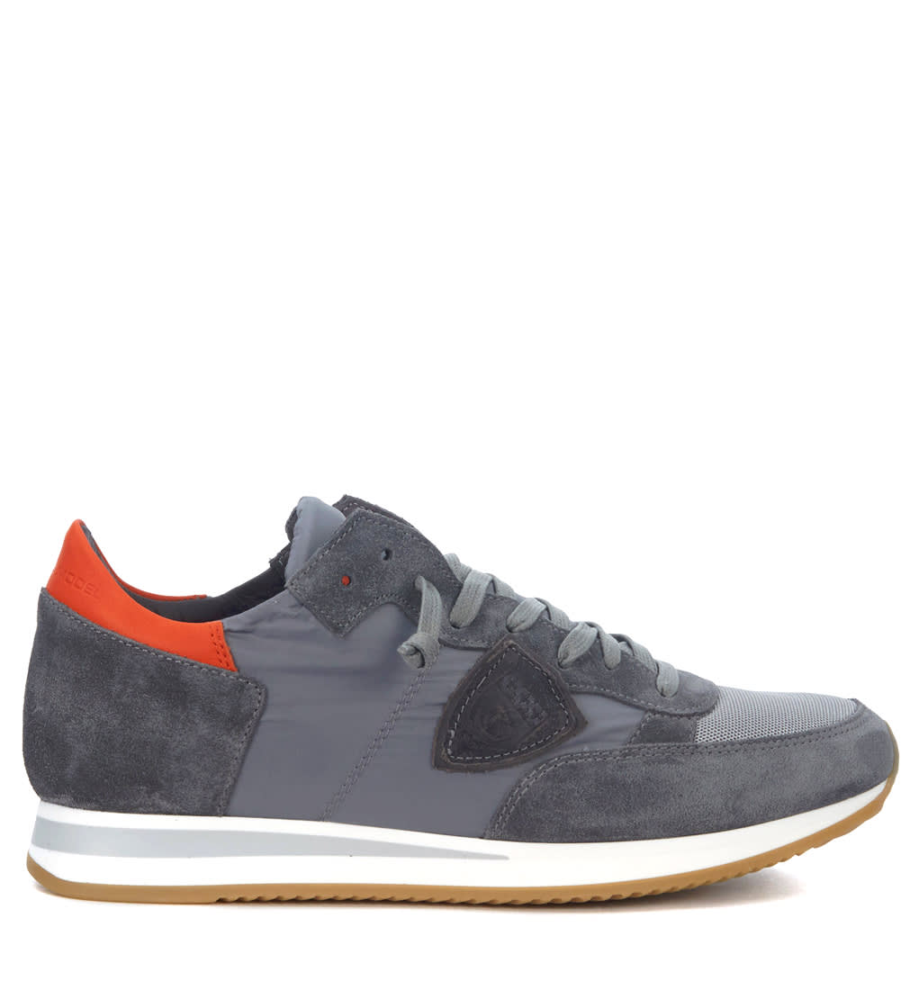 Philippe Model Tropez Grey And Red Suede And Leather Sneaker In Grigio
