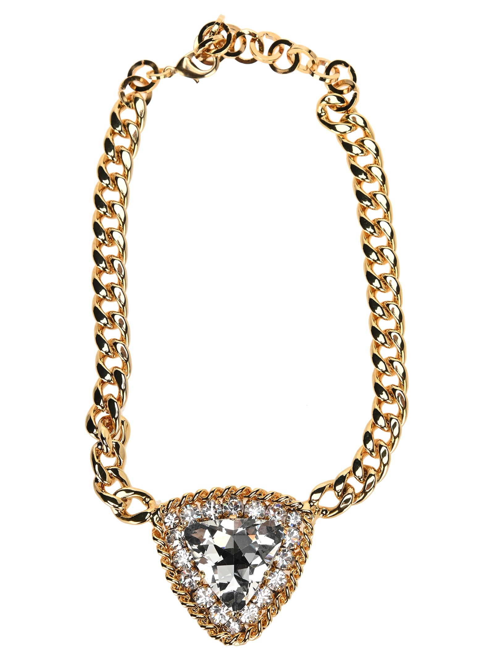 Alessandra Rich Necklaces CRYSTAL TRIANGLE PENDANT NECKLACE