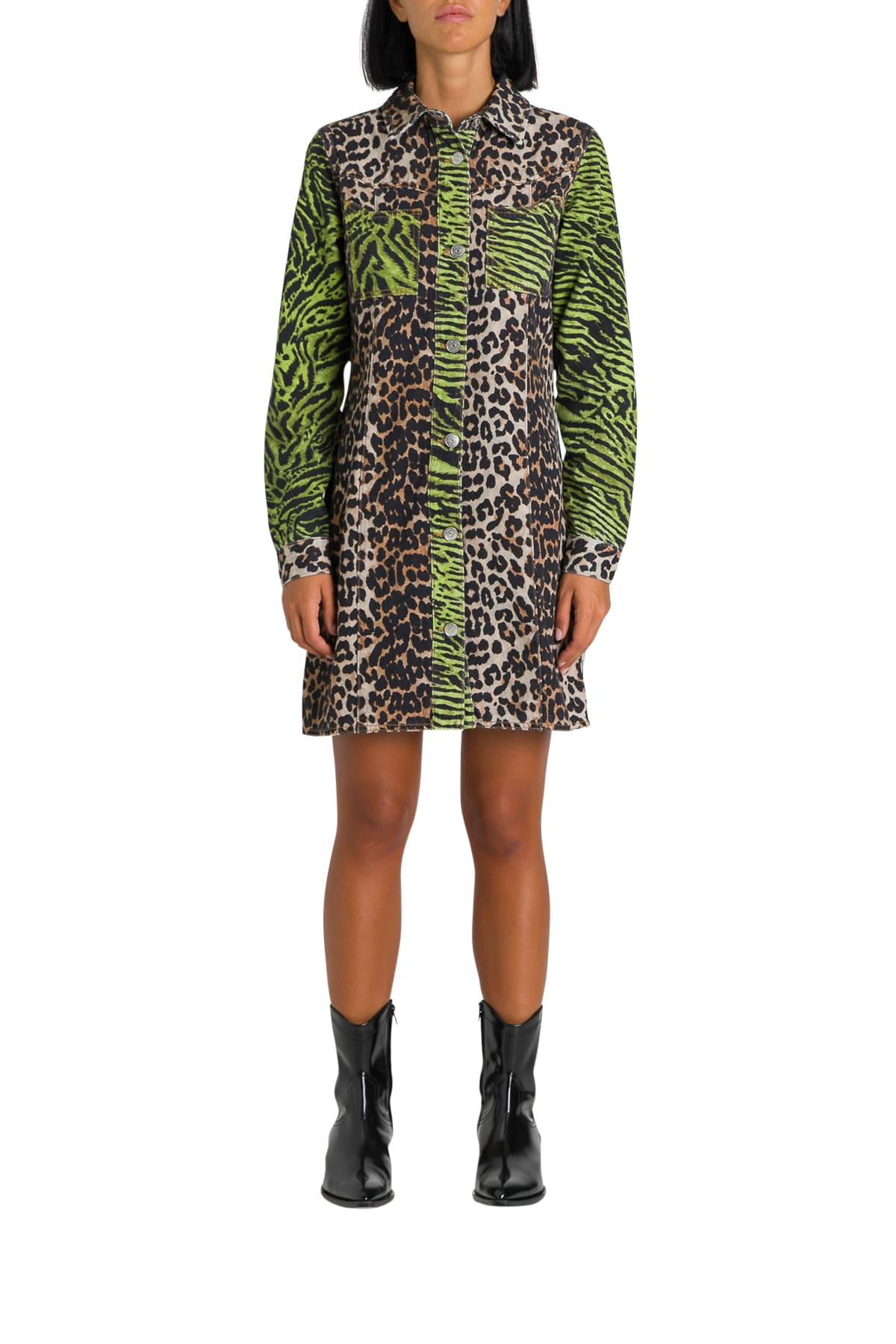 Ganni Animalier Printed Denim Shirt Dress