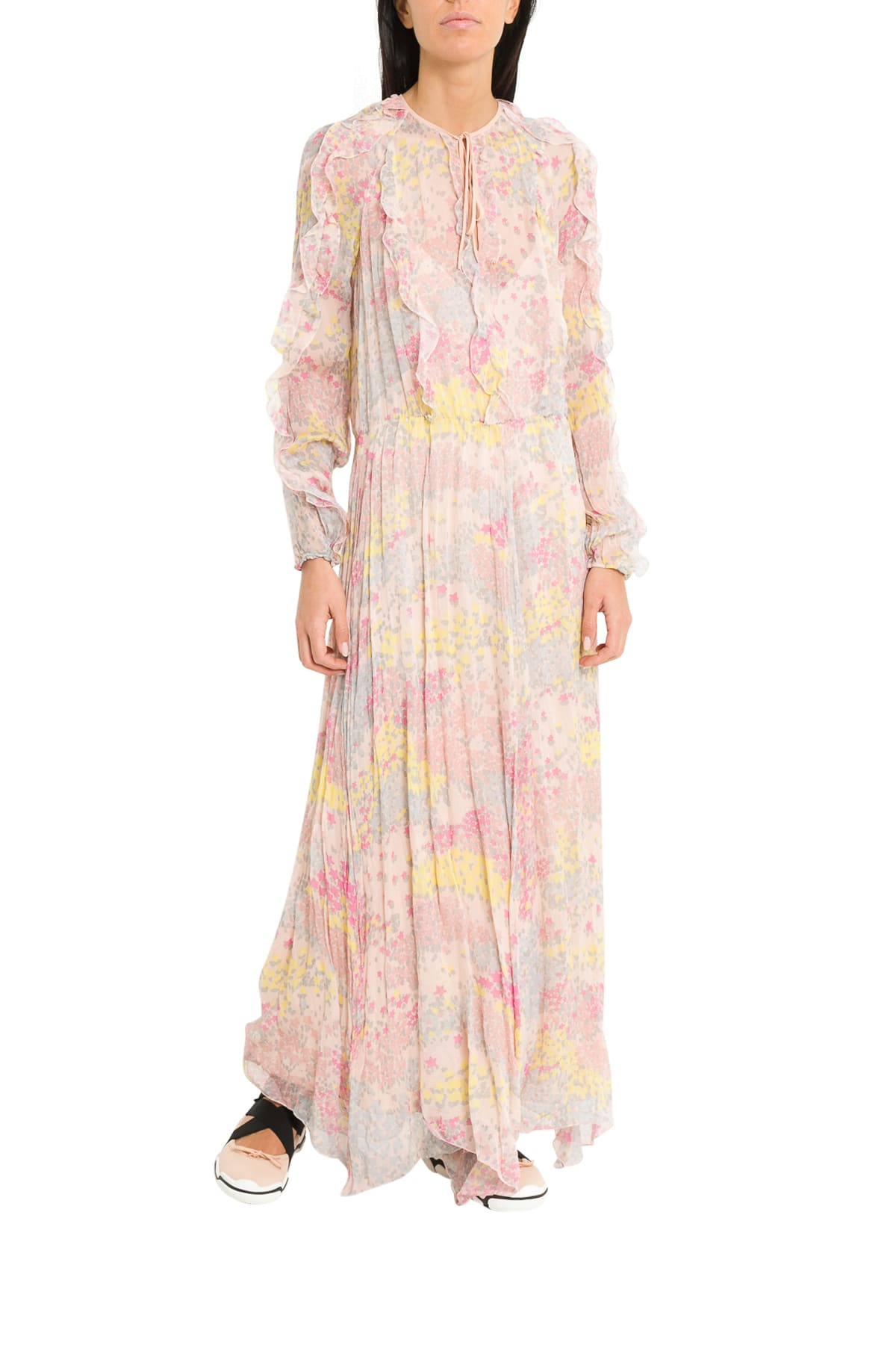 RED Valentino Cascading Stars Printed Chiffon Long Dress