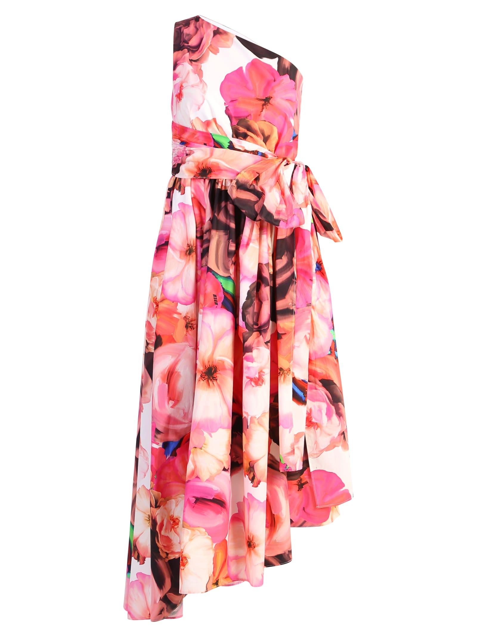 MSGM Floral Motif Dress