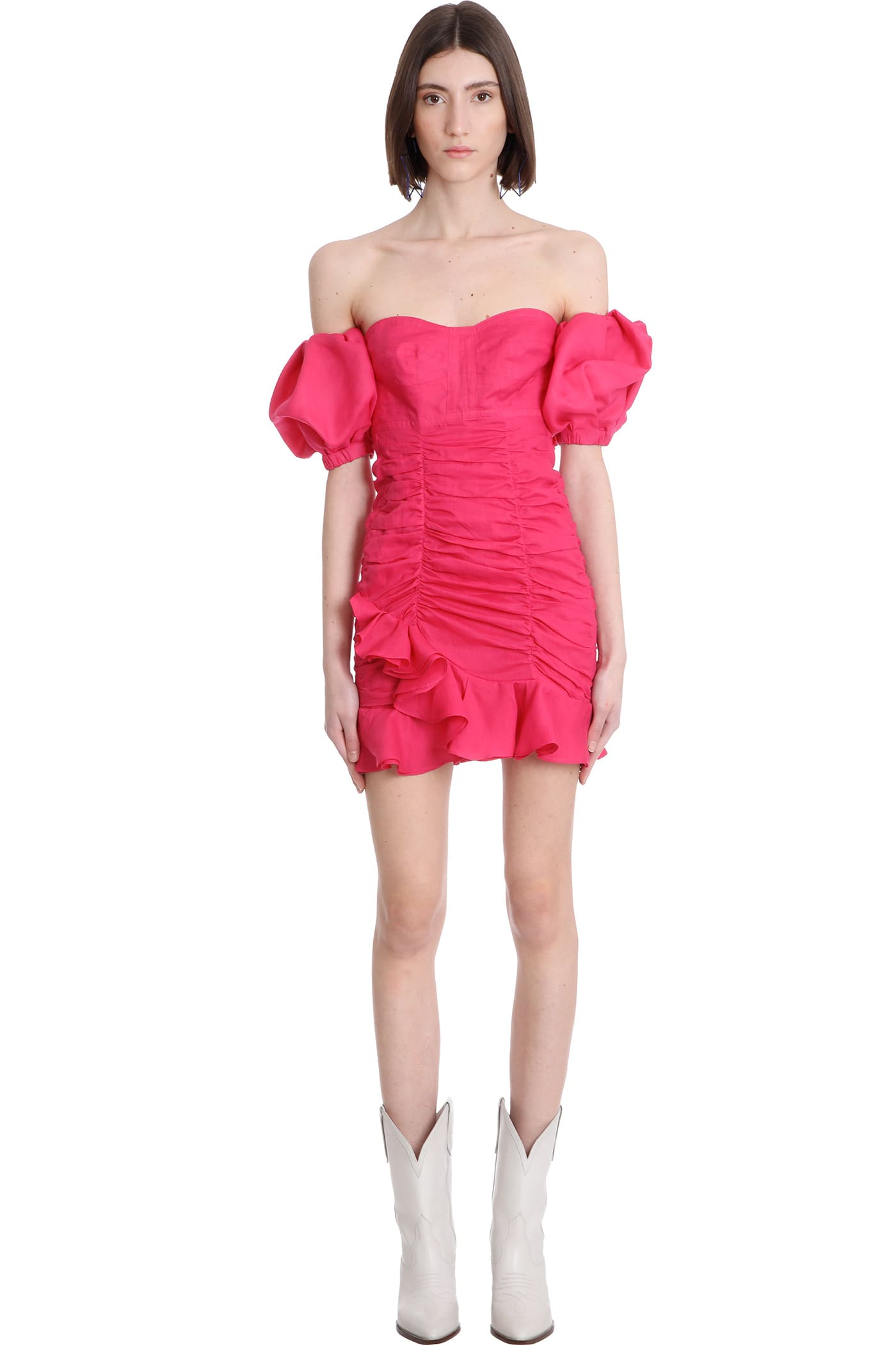 Buy Isabel Marant Jasmine Dress In Fuxia Cotton online, shop Isabel Marant with free shipping