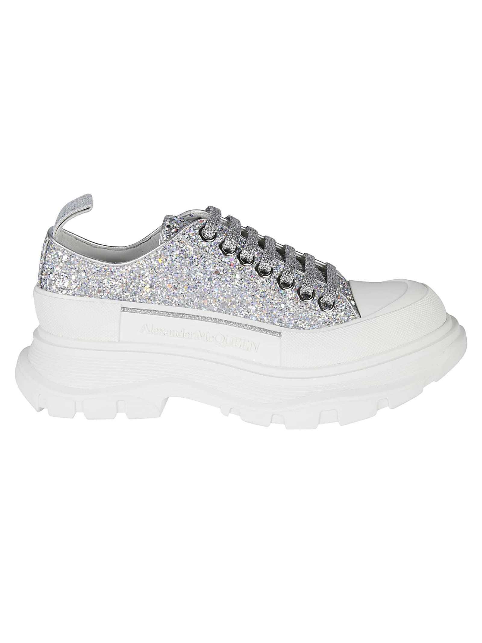 Alexander McQueen Embossed Logo Glitter Applique Sneakers