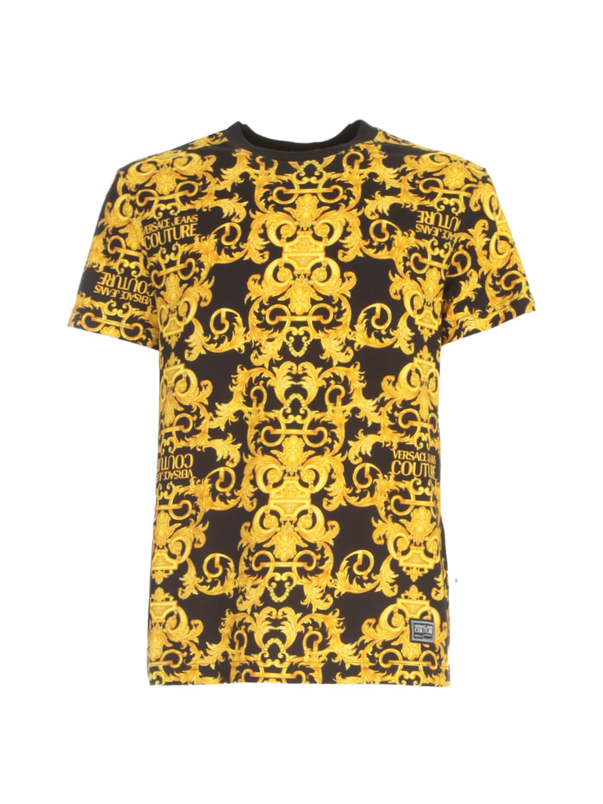Versace Jeans Couture Slim Logo Baroque Jersey Stretch T-shirt In Nero