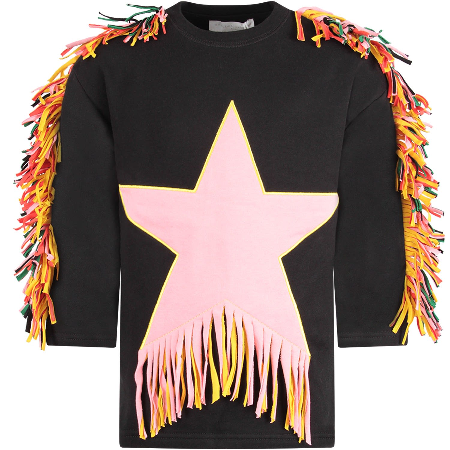 Stella McCartney Kids Black Girl Dress With Pink Star