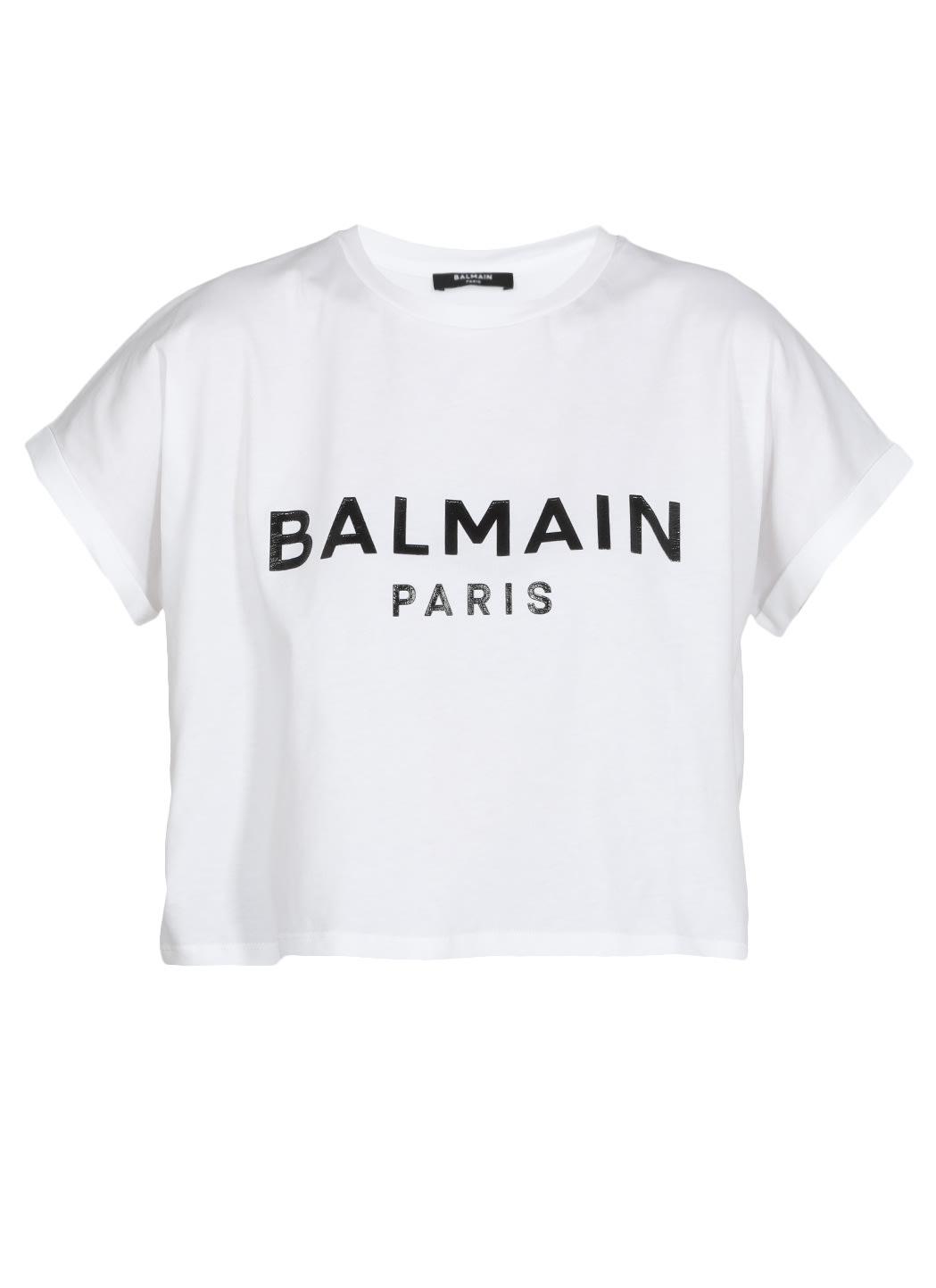 Balmain Cottons LOGO CROPPED T-SHIRT