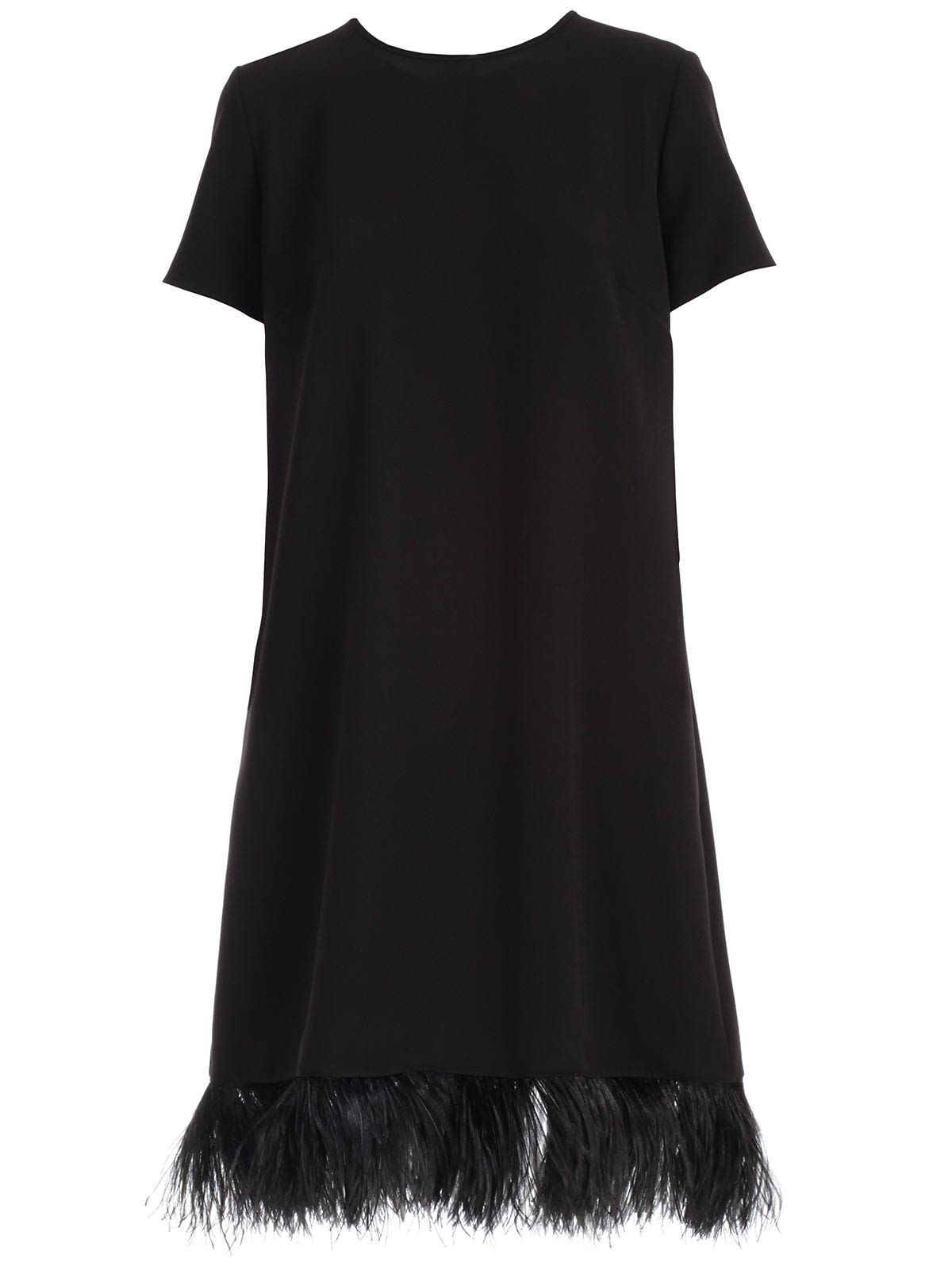 Buy Parosh Dress S/s Crew Neck Cady W/plumes online, shop Parosh with free shipping