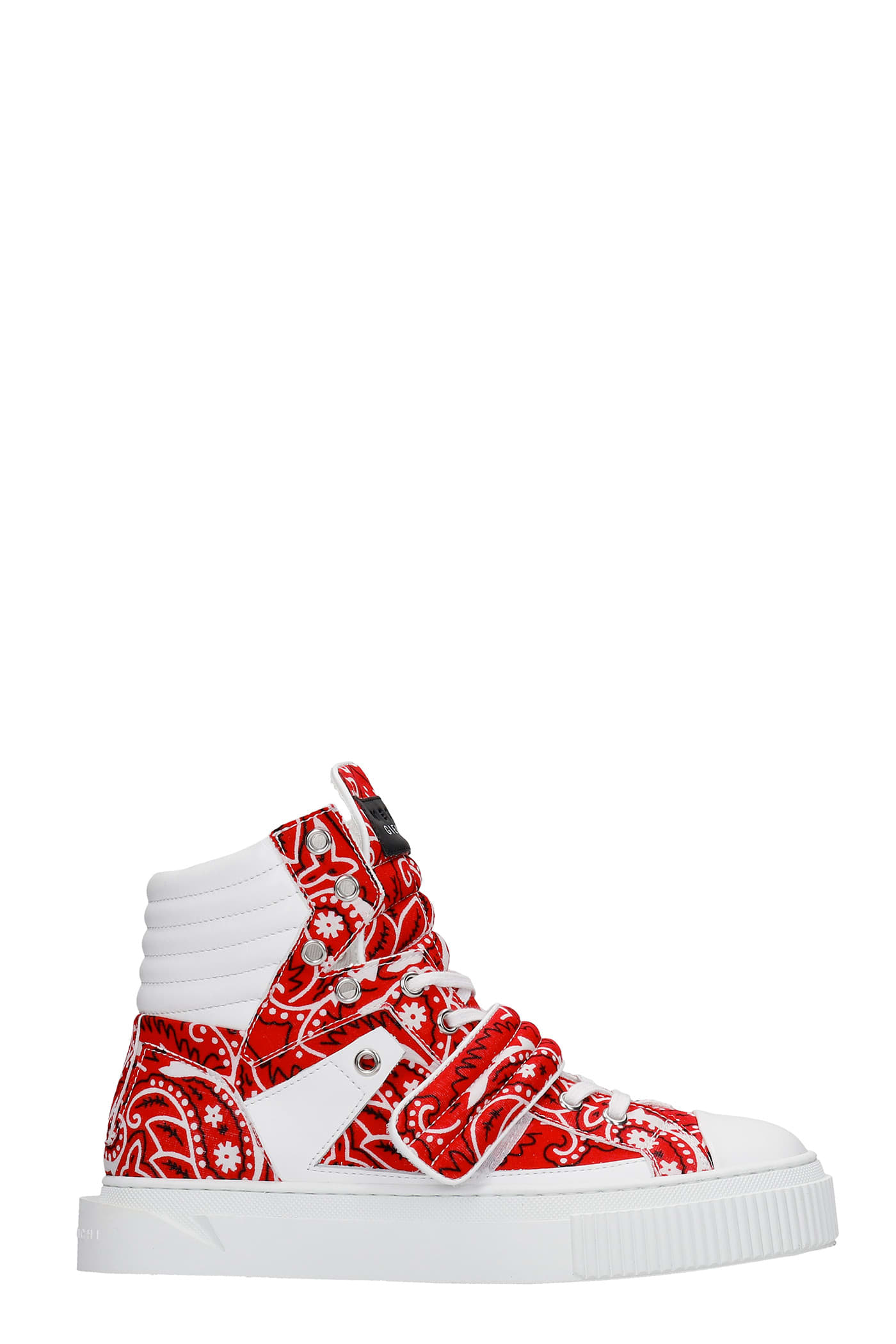 Hypnos Sneakers In Red Leather And Fabric