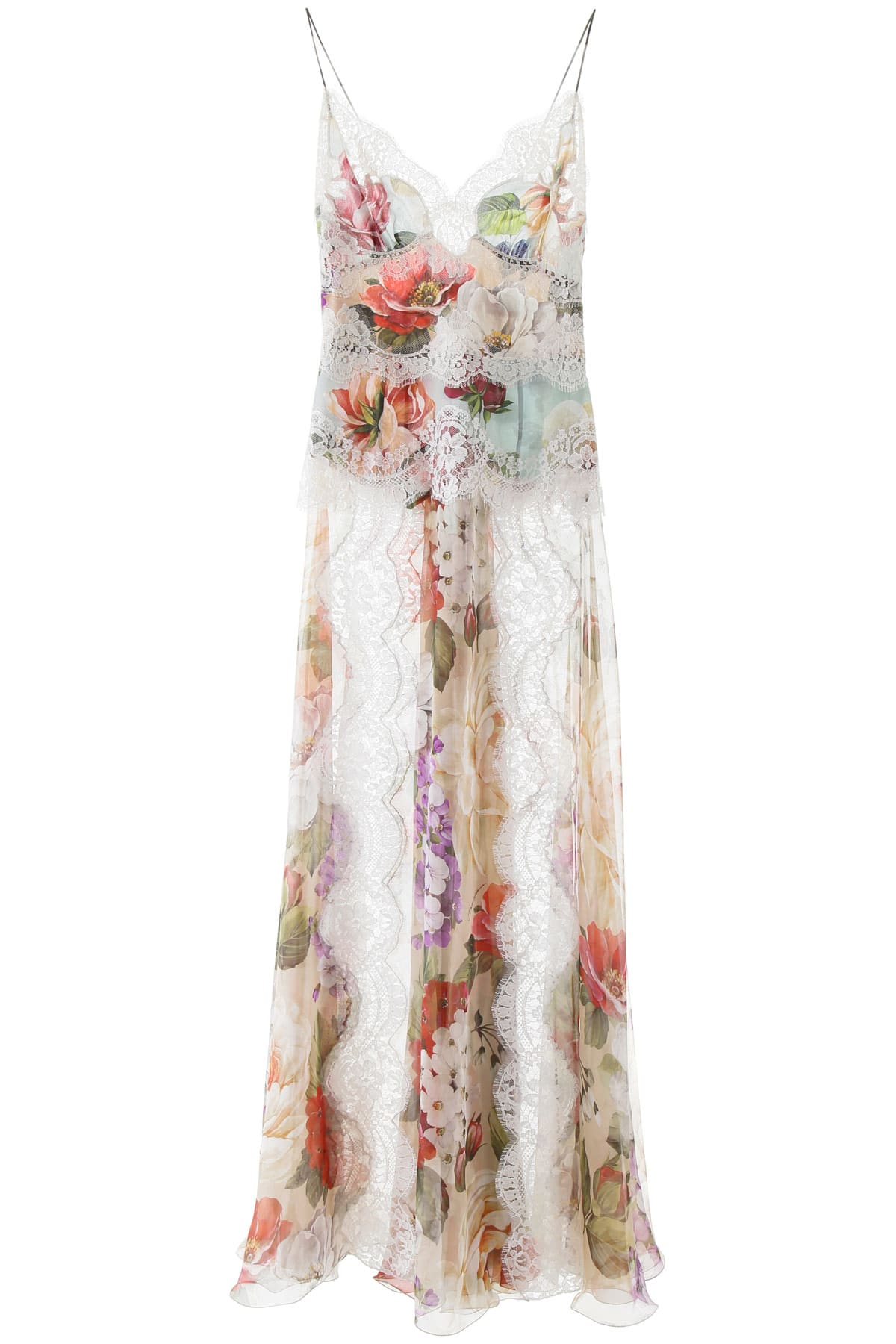 Buy Dolce & Gabbana Floral Print Chiffon Dress online, shop Dolce & Gabbana with free shipping