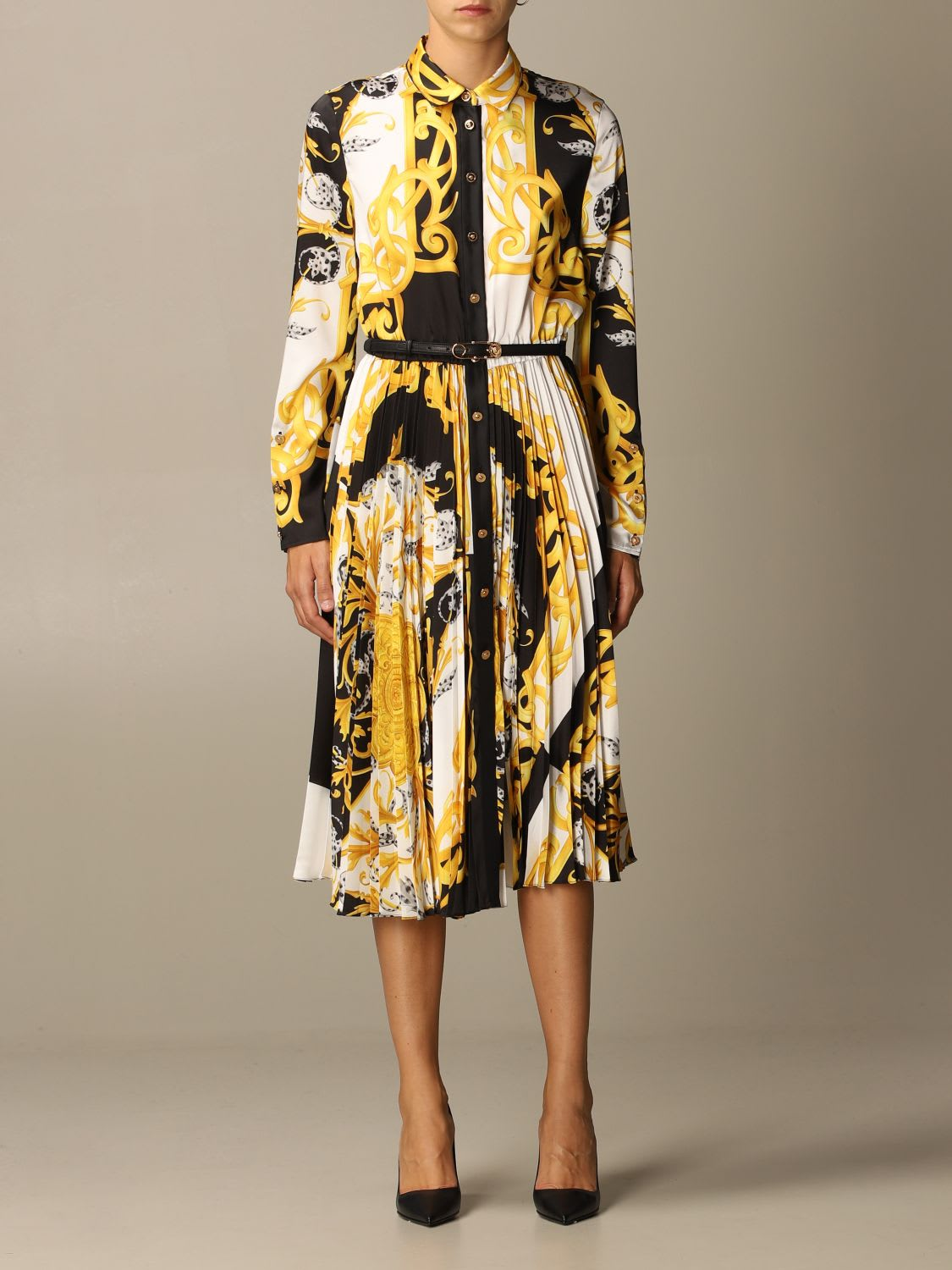 Versace Dress Versace Pleated Shirt Dress With Baroque Acanthus Print