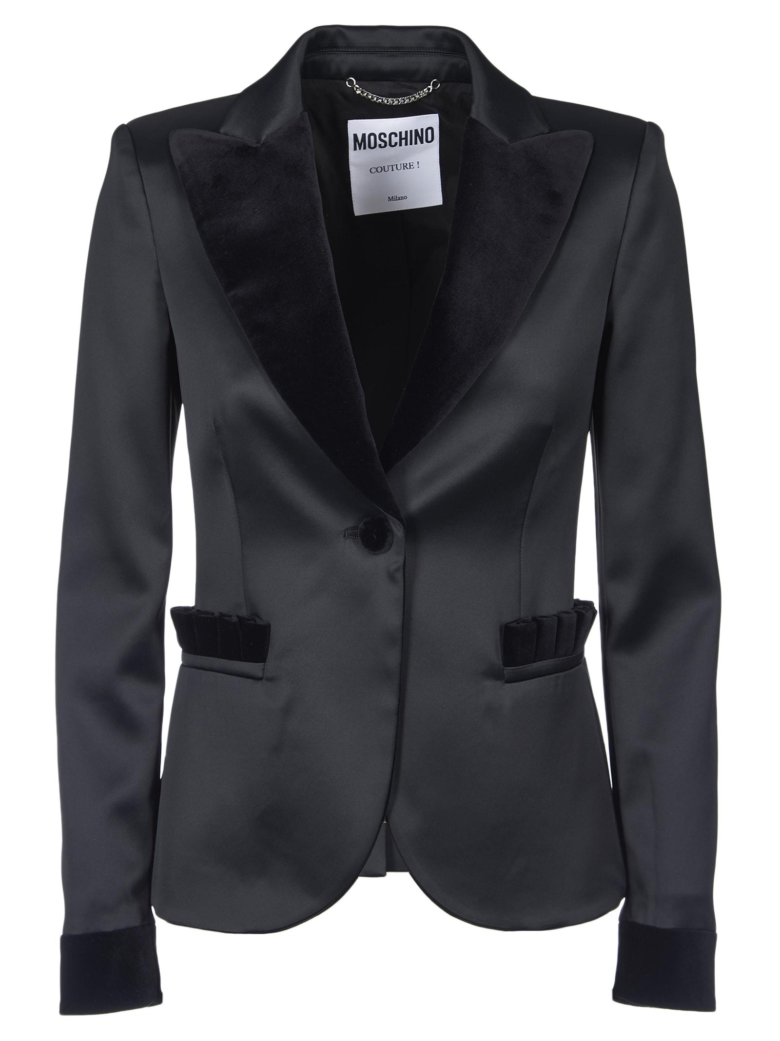 Moachino Woman Satin Jacket With Velvet