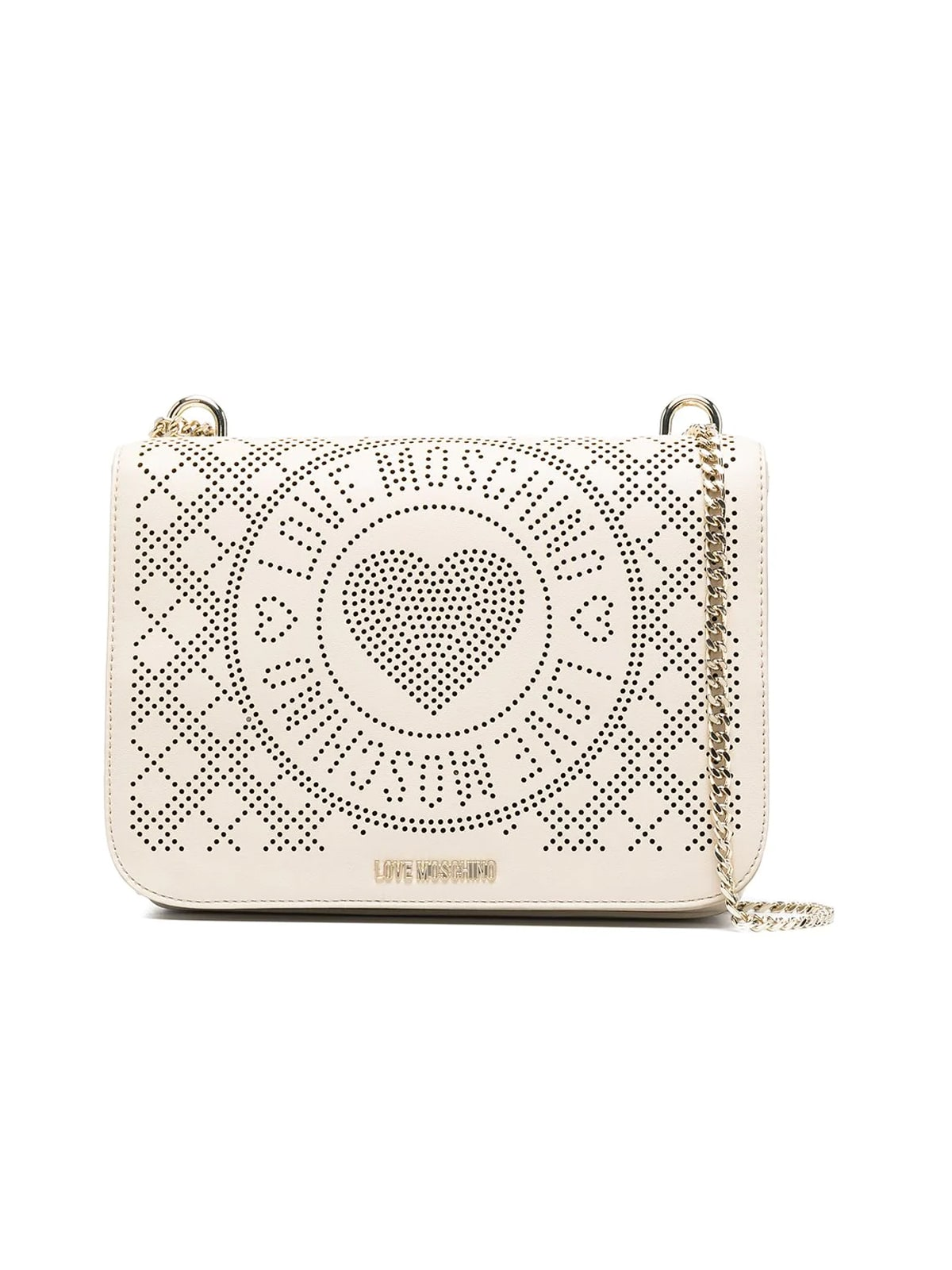 Love Moschino PERFORATED HEART SHOULDER BAG