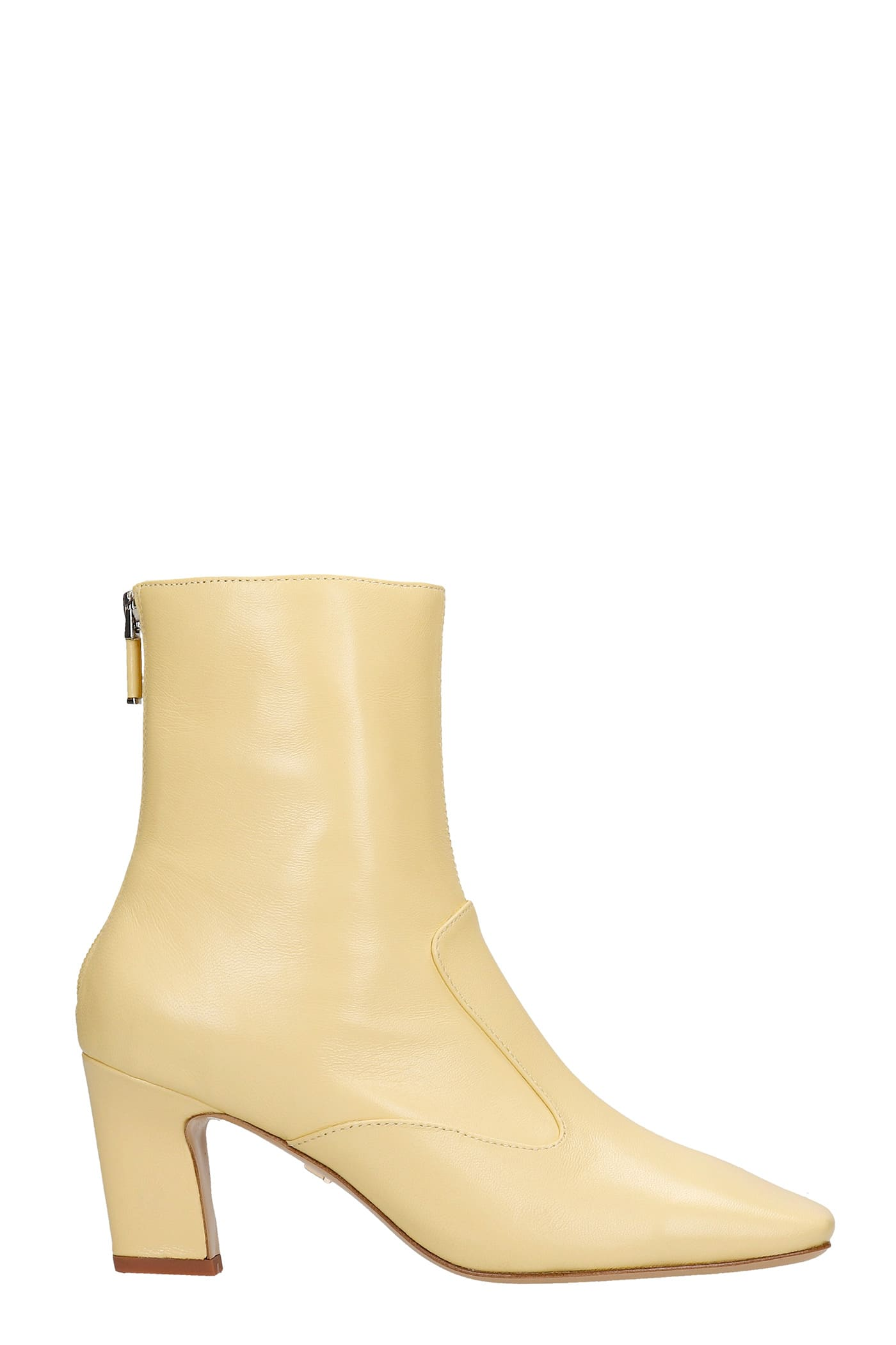 High Heels Ankle Boots In Yellow Leather