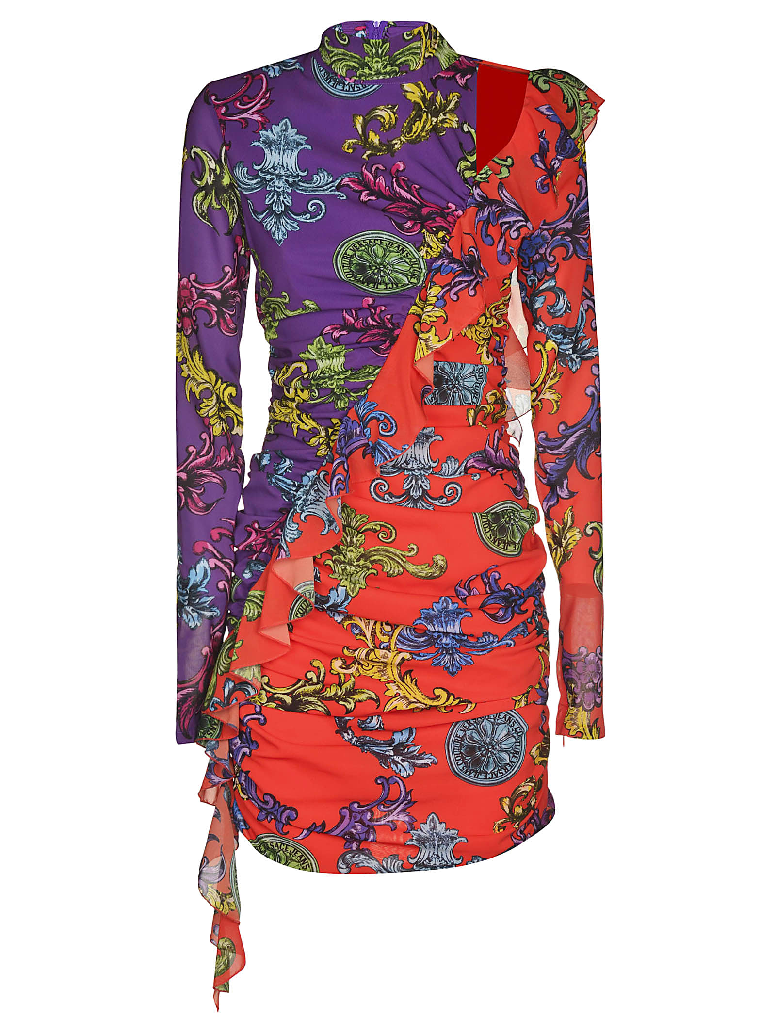 Versace Jeans Couture Exposed Shoulder Printed Dress