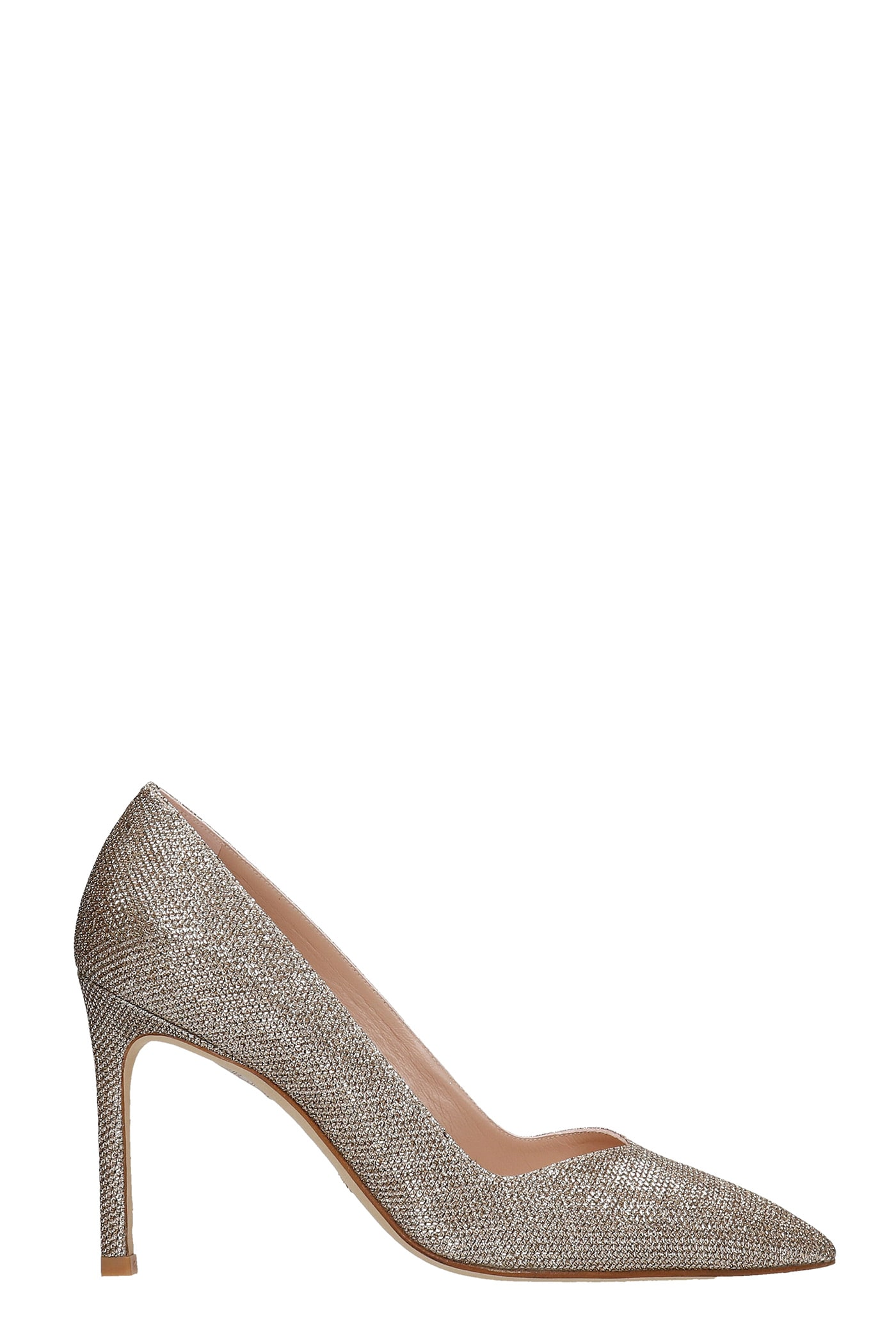 Buy Stuart Weitzman Anny Pumps In Platinum Glitter online, shop Stuart Weitzman shoes with free shipping