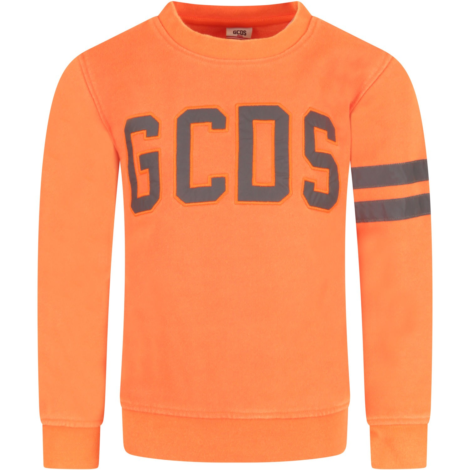 Color: Neon orange Neon orange sweatshirt, with long sleeves and ribbed crew-neck. It is embellished with reflective logo with neon orange trimming, embroidered on the front and stripes, on the sleeve. 75% Polyester 25% Cotton. Machine wash at 30% C.