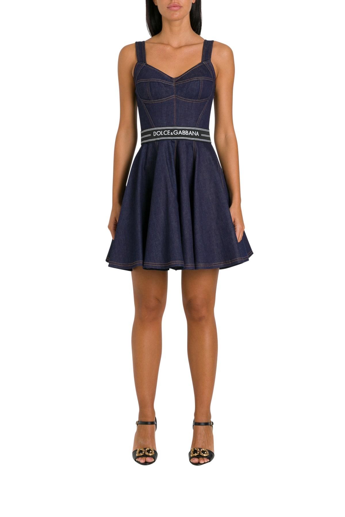 Buy Dolce & Gabbana Denim Midi Dress online, shop Dolce & Gabbana with free shipping